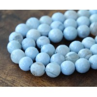 Striped Agate Beads, Ice Blue, 10mm Faceted Round