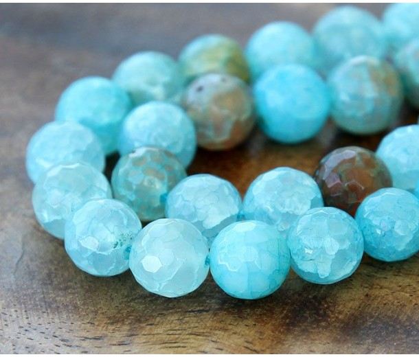 Fire Crackle Agate Beads, Teal Blue, 10mm Faceted Round
