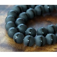 Black Agate Beads with a Stripe, Matte, 8mm Round