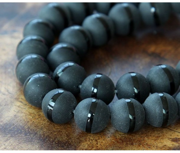 Black Agate Beads with a Stripe, Matte, 10mm Round