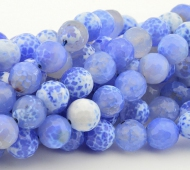 Agate Beads, Blue and White, 10mm Faceted Round
