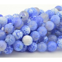 -Agate Beads, Blue and White, 10mm Faceted Round