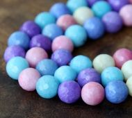Agate Beads, Pastel Mix, 8mm Faceted Round