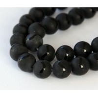 Matte Black Agate Beads, Wavy Stripe, 10mm Round