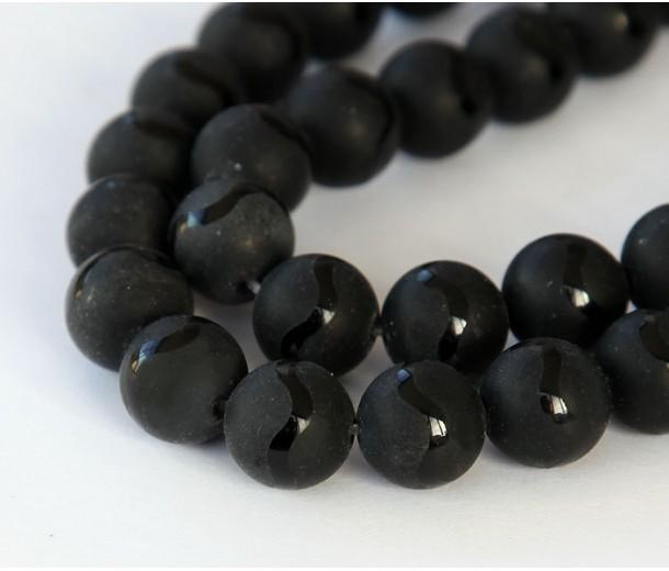 Matte Black Agate Beads, Wavy Stripe, 10mm Round