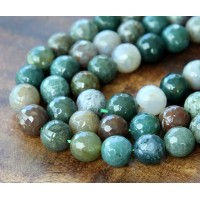Indian Agate Beads, Multicolor, 8mm Faceted Round