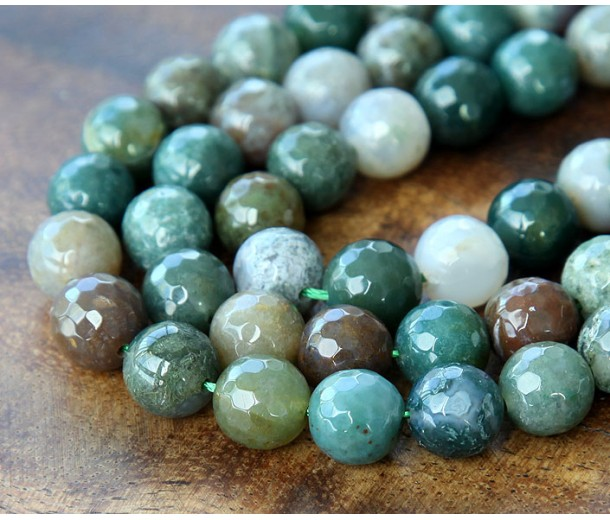 Indian Agate Beads, Natural Multicolor, 8mm Faceted Round