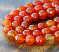 Agate Beads, Bright Orange, 6mm Faceted Round