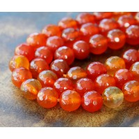 Agate Beads, Bright Orange, 8mm Faceted Round