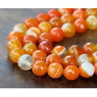 Striped Agate Beads, Orange, 8mm Faceted Round