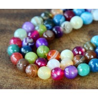Striped Agate Beads, Multicolor, 6mm Faceted Round
