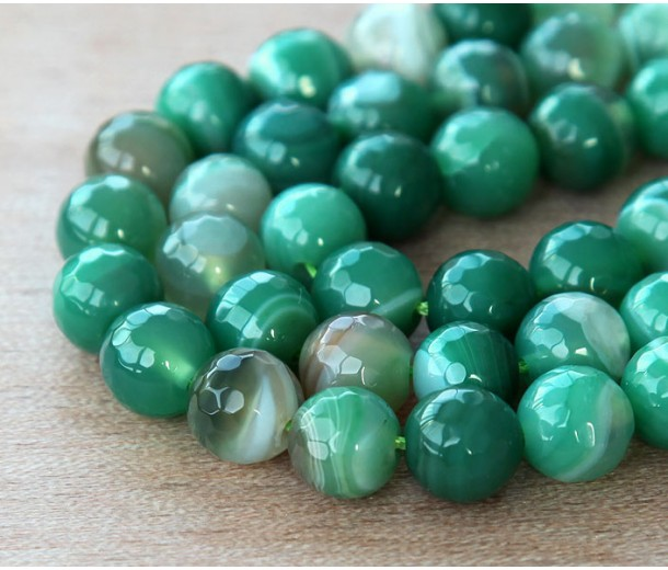 Striped Agate Beads, Green, 8mm Faceted Round