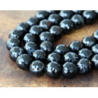 Agate Beads, Black, 8mm Faceted Round