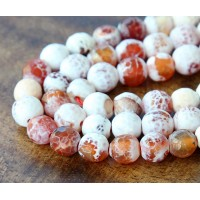 Fire Crackle Agate Beads, Caramel, 8mm Faceted Round