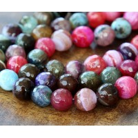 Mixed Agate Beads, Multicolor, 8mm Faceted Round