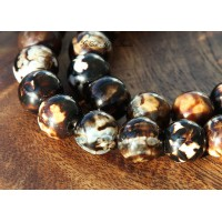 Fire Crackle Agate Beads, Dark Coffee Brown, 10mm Round
