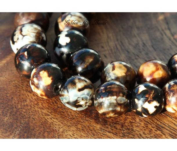 Fire Crackle Agate Beads, Dark Coffee Brown, 7-8mm Round