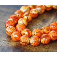 Dzi Agate Beads, Orange, 8mm Faceted Round