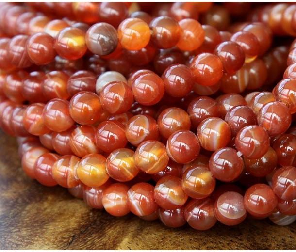 Striped Agate Beads, Terracotta Orange, 6mm Round