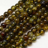 Fire Crackle Agate Beads, Olive Green and Brown, 12mm Round