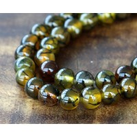 Fire Crackle Agate Beads, Olive Green and Brown, 10mm Round