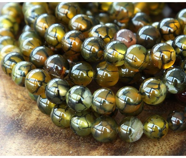 Fire Crackle Agate Beads, Olive Green and Brown, 8mm Round