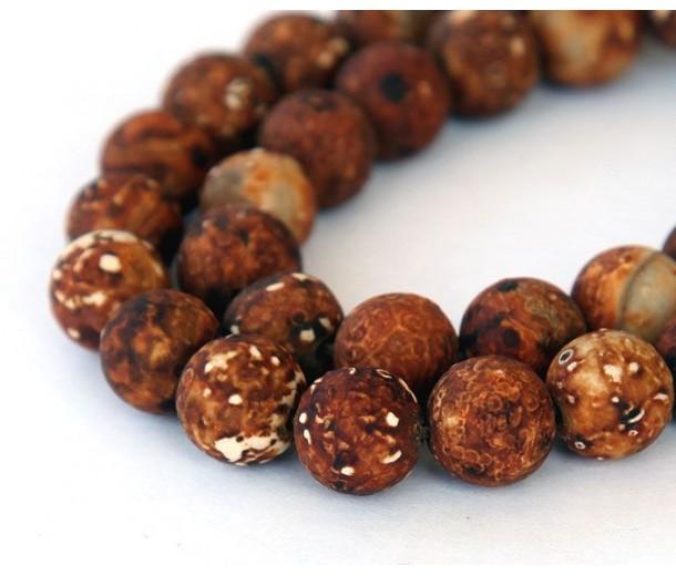 Antiqued Agate Beads, Matte Dark Brown, 10mm Round