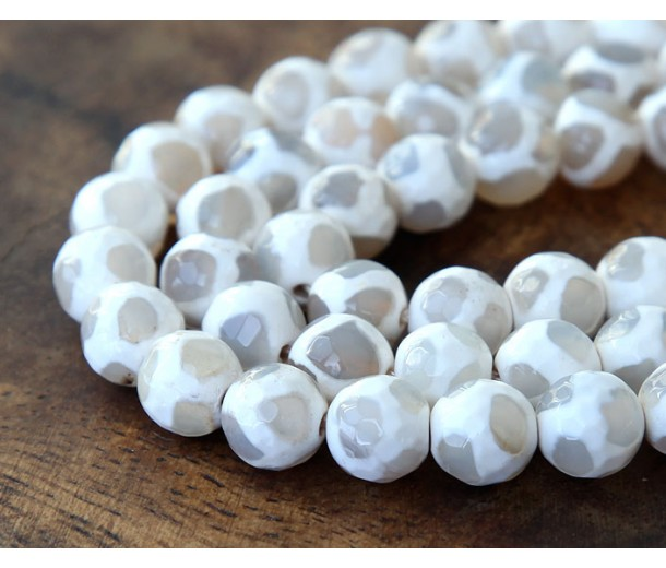 Dzi Agate Beads, White, 10mm Faceted Round