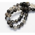 Fire Crackle Agate Beads, Grey Veins, 6mm Round