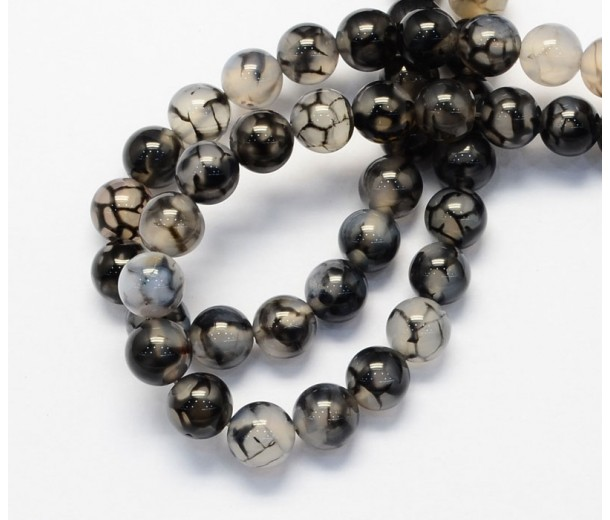 Fire Crackle Agate Beads, Grey Veins, 8mm Round