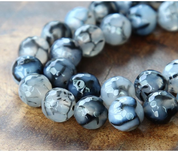 Fire Crackle Agate Beads, Grey Veins, 10mm Faceted Round