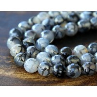 Fire Crackle Agate Beads, Grey Veins, 8mm Faceted Round