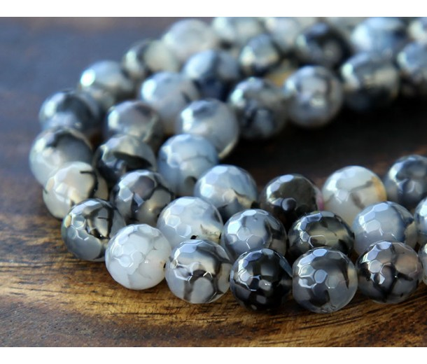 Fire Crackle Agate Beads, Grey Veins, 6mm Faceted Round
