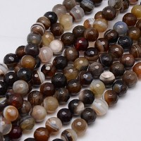 Striped Agate Beads, Brown, 8mm Faceted Round