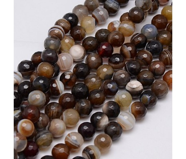 Striped Agate Beads, Brown, 10mm Faceted Round