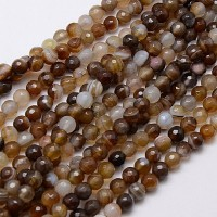 Striped Agate Beads, Brown, 6mm Faceted Round