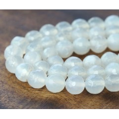 Agate Beads, Winter White, 10mm Faceted Round