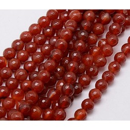 Agate Beads, Terracotta Brown, 8mm Faceted Round