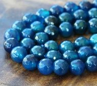 Agate Beads, Denim Blue, 6mm Faceted Round