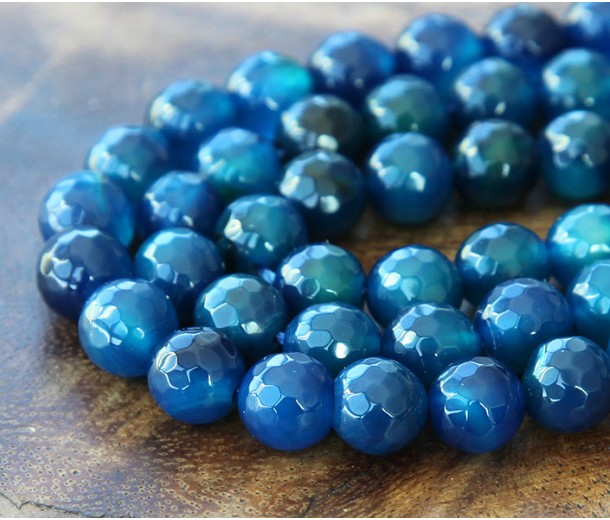 Agate Beads, Denim Blue, 8mm Faceted Round
