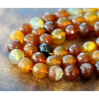 Agate Beads, Caramel Brown, 8mm Faceted Round