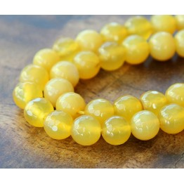 Agate Beads, Sun Yellow, 8mm Faceted Round