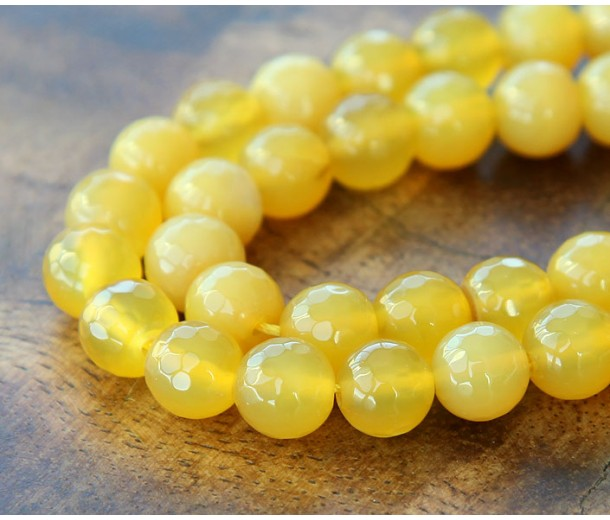 Agate Beads, Light Yellow, 8mm Faceted Round