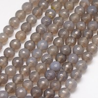 Agate Beads, Smoke Grey, 10mm Faceted Round