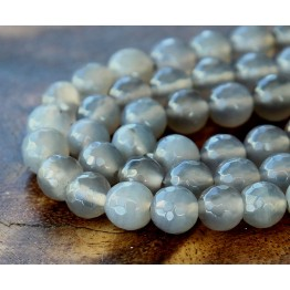 Agate Beads, Smoke Grey, 8mm Faceted Round