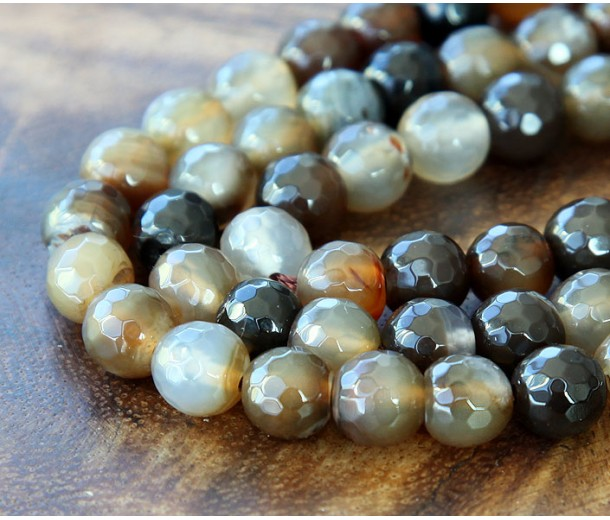 Agate Beads, Medium Brown, 8mm Faceted Round