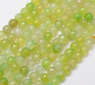 Agate Beads, Light Yellow Green, 8mm Faceted Round