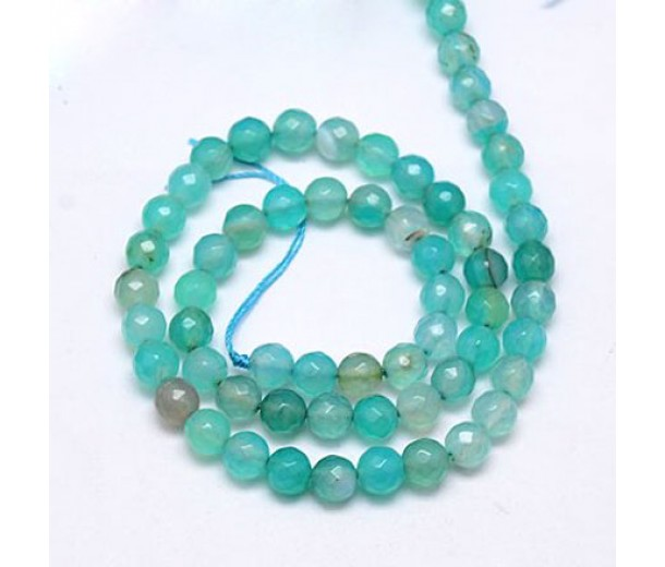 Agate Beads, Milky Teal, 6mm Faceted Round