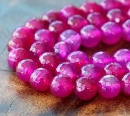 Agate Beads, Fuchsia, 6mm Faceted Round