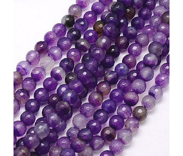 Agate Beads, Violet, 8mm Faceted Round